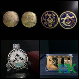 Wholesale Sample Order Masonic Freemason Silver Gold Plated Metal Craft Coins