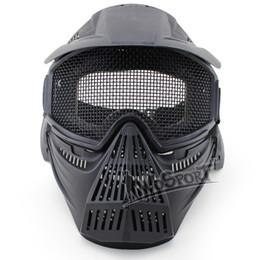 Proteger a paintball en Línea-El nuevo venir de la máscara de Airsoft Tactical Paintball Guardia Caza Cara Proteger completa malla máscara material ABS Gafas