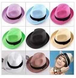 Descuento sombreros casual para los hombres Los colores mezclados Panamá Sombreros de Paja Fedora Soft Vogue Verano Sun Beach Trilby Gangster Lino Jazz Sombrero Unisex Hombres Mujeres Tacaño Brim Caps # 71671