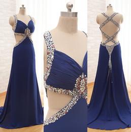 Royal Blue Backless Prom Dresses 2016 Spaghetti Cross Back Sheath Chiffon PARty Evening Dresses Custom made