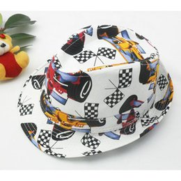 Wholesale Fashion Formula one racing printing Baby canvas hat Cowboy Hat Boys Girls Fedoras Jazz cap