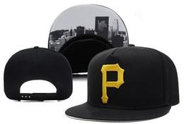 Descuento sombreros de los deportes de la ciudad Al por mayor-libres de los Piratas de Pittsburgh Snapback deportivo clásico del oro P Carta de béisbol plana casquillos ajustables de impresión de la ciudad los hombres del envío