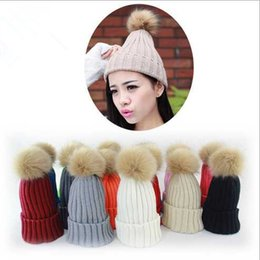 Designer Womens Plain Knitted Beanies Pom Winter Warmer Hats For Ladies Crochet Faux Raccoon Rabbit Fur Ball Slouchy Snow Cap 8 Solid Color