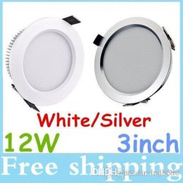 Ultra Bright Dimmable 12W Led Recessed Lamp 3 Inch Downlights 110-240V Cool Warm White Led Ceiling Down Light Silver White Body For Choose
