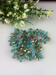 100pcs 6*12mm Light green Jade + Gold plating Quartz Faceted Crystal Glass Teardrop Beads Briolette Jewelry Loose Beads DIY