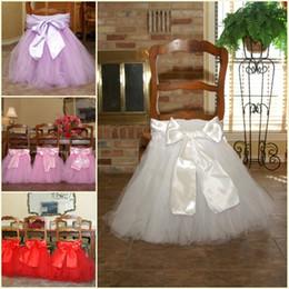 Promotion arcs décorations mariage 2016 rose blanc Tutu chaise en tulle châssis en satin bow châssis en stock chaise jupe volants décorations de mariage chaise couvre anniversaire fête des fournitures