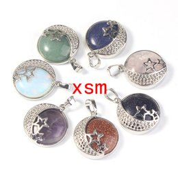 10psc Natural Gem Stone Star And Crescent Pendant,Healing Chakras Stone Beads Starmoon Pendant Necklace Fit Girl