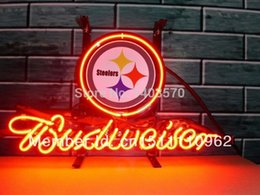 Wholesale Budweiser Pittsburgh Steelers Handcrafted Real Neon Glass Tube Beer Bar Neon Light Sign X