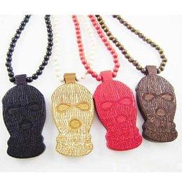 Wholesale Ski Mask Bandit Hat Pendant Good Wood Hip Hop Wooden NYC Fashion Necklace Colors Mixed