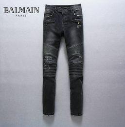Wholesale Mens Balmain Destroyed Denim Biker Jeans