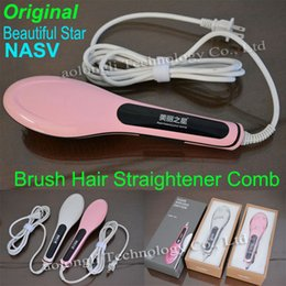 NASV-100 Beautiful Star comb Fast hair straightener LCD Temperature Controls Straightening Hair Comb Brush Irons Electric Hair Massager Comb