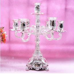 Wholesale 7 branch antique silver plated large decorative lanterns tall candle holders for wedding centerpieces candlestick ZT071
