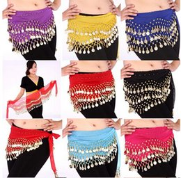 Wholesale DDA3334 New Belly Dance Costume Dancing Rows Hip Skirt Scarf Wrap Belt Hipscarf with Coins Bellydance waist chain Dancing Skirts
