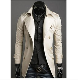 Fall-2015 Autumn&Winter Men's Comfortable Long Double Breasted Turn-down Trench For Male Hot-selling&New Arrival wholesale