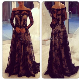 Zuhair Murad Black Lace Applique A-Line Long Formal Evening Dresses Off-Shoulder Long Sleeve Elegant Lace Prom Gowns Pageant Dress Chic
