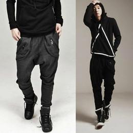 Free shipping Tide Men's joggers Casual Harem Low crotch Cross-pants Sweat pants Zip Pocket Design Black Dark Gray