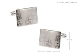 High Quality New Classic Silver Copper Mens Wedding Cufflinks Novelty Rare Fancy Classic Rectangle & Clean Cloth 170093