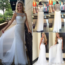 White Sequins Evening Dresses 2016 New Sexy Illusion Neck Crystal Beads Chiffon Long Floor Length Cheap Pageant Party Prom Gowns BA0812