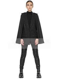 Wholesale Cheap Winter Leather Jackets - New Arrival Cheap Cap Poncho Winter Womens Double Breasted Cape Batwing Wool Blend Poncho Belted Jacket Female Lady Winter Warm Cloak Coats