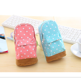 Wholesale-Polka dot school bag korea stationery small fresh canvas knapsack pencil case coin purse storage bag mobile phone bag