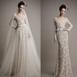 Wholesale 2016 Lace Wedding Dresses Two Piece Wedding Gowns with Long Sleeve V Neck Sweep Train Backless Evening Wear Ersa Atelier
