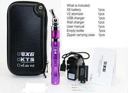 Wholesale Kts Gold Kit - X6 KTS Electronic Cigarette Kits V2 Atomizer 1300mah X6 Battery e cigarette Kit in Zipper Carrying Case