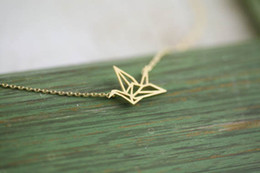 30PCS- N005 Gold Silver Origami Crane Necklace Paper Crane Necklace Tiny Little Swallow Lucky Baby Bird Necklaces Jewelry for women