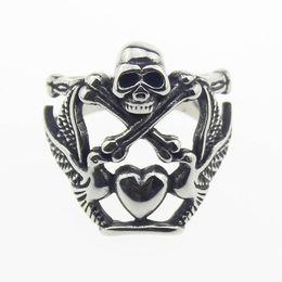 Wholesale Men s Silver Heart Pigeon Cross Bone Evil Skull L Stainless Steel Ring