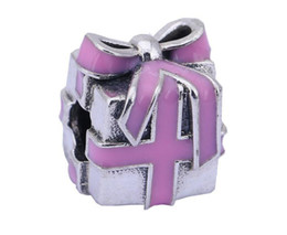 100% Sterling Silver Charms 925 Ale Enameled Gift Box Charms for Pandora Bracelets DIY European Beads Accessories