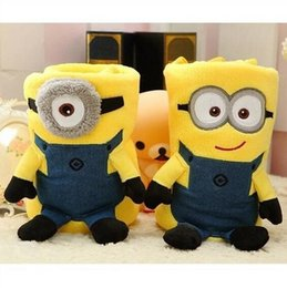 Wholesale 82 cm cute creative Despicable me Minions plush coral fleece blanket Super soft Minions blankets Soft baby blankets LJJD3053