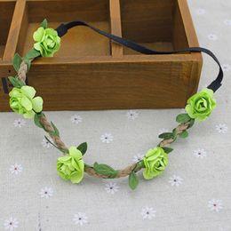 Wholesale Hand Made Artificial Flower Headband Wedding Floral Garland Hair Bands Headwear Hair Accessories for Women OC0023