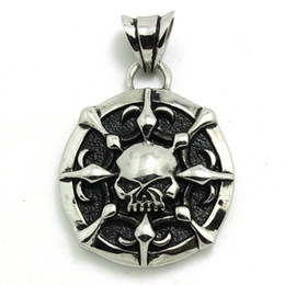 Wholesale Silver Biker Necklace - Silver Skull Motor Biker Hot Pendant 316 Stainless Steel Amazing Design Fashion Skull Biker Pendant