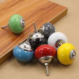 Wholesale child kids color ceramic door knob handle pull with silver base for cabinet kitchen and drawer