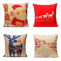 Wholesale-Vintage Home Decoratives Cushion Cases Xmas Red Merry Christmas Santa Claus Deer Pillow Covers