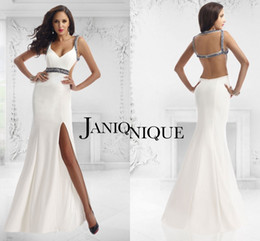 Wholesale 2017 Split Evening Dresses Janique Sexy Simply White Beaded Sheath Mermaid Dresses Evening Wear For Women Custom Made