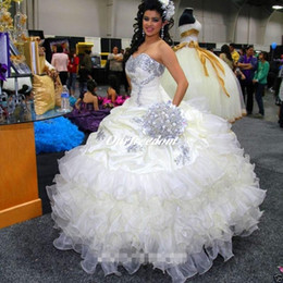 Luxury Custom Stunning Crystal Princess Quinceanera Dresses Ball Gown Ruffled Long Girls Pageant Gown Custom Made