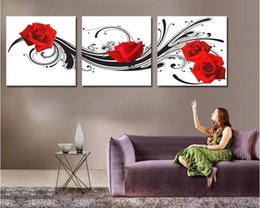 Modern wall art decor 3 piece red rose flower picture printed living room wall paintings canvas No frame