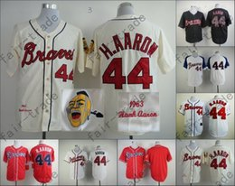 Wholesale 2014 NEW Hank Aaron Jersey Red White Cream Cool Base Atlanta Braves Jerseys