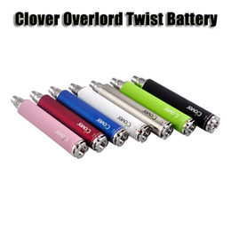 Clover overlord twist 3.2v to 3.8v variable voltage battery 2600mAh E Cigarette Battery for 510 thread atomizer 9 colors