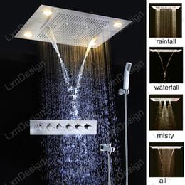 Wholesale Best Bathroom Accessories Rainfall Waterfall Shower Head China Combine LED Rain Shower Headsets Misty Hand Held Shower