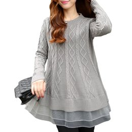 Women Sweater Winter 2016 Autumn Ladies Loose Knitted Sweater Lace Long Pullover Camisa Feminina Oversized Christmas Sweater