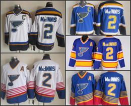 Sanit St. Louis Blues #2 Al MacInnis Jersey throwback CCM vintage worn Jersey royal blue white away road old time hockey jerseys