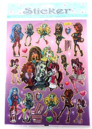 free shipping 50pcs lots Kids Cute Cartoon Monster High Decoration Wall Stickers,flat Stikers,Plan Sticker