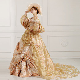 100%real bowknot ruffle medieval dress with hat Renaissance Gown princess costume Victorian Marie Antoinette