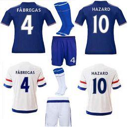 Wholesale Chelsea Jersey Shorts - Chelsea Soccer Jerseys 2016 Full Sets Football Jerseys +Short +Socks Hazard Diego Costa Camisetas De Futbol Home And Away Soccer Uniforms