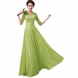Wholesale-Women Elegant Vestido Dress Half Sleeve Lace Chiffon Gown Maxi Long Dress
