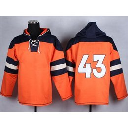 Wholesale Orange Mens American Football Hoodies Hot Hoodies Comfortable Outdoor Sports Apparel with Hats Pullover Lace Up Hooded Sweatshirts