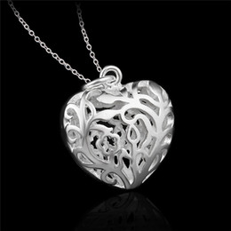 Factory price 925 Sterling silver hollow heart pendant necklace fashion jewelry Valentine's Day gift for girls free shipping