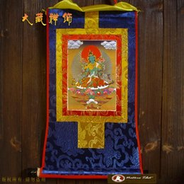 Wholesale Y Textile Fabric Crafts Tibetan Buddhist Green Tara Buddha Printed Gold Plated Gilding Tangka Thangka cm Tibet Embroidery