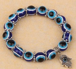 Wholesale Fashion Turkey Evil Eye Bracelet Resins Beads Shamballa pendant Kabbalah Hand beaded bracelet strand elastic wristband charm jewelry gifts